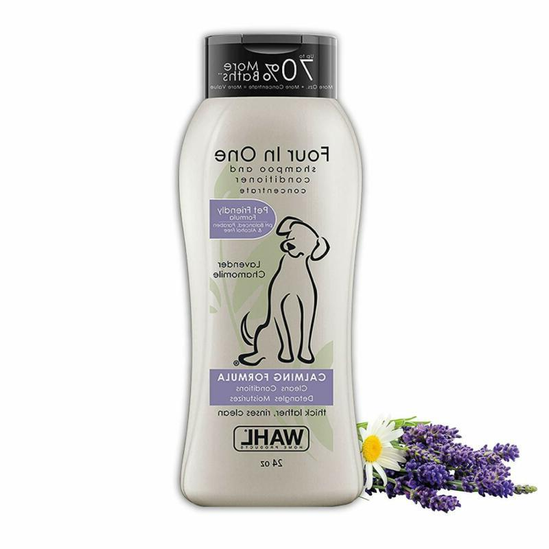 4 in 1 calming pet shampoo cleans