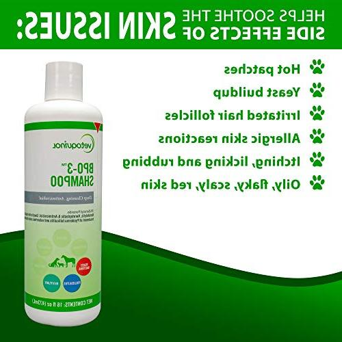Vetoquinol BPO-3 Shampoo for Dogs, – Deep Cleaning, & Flushes Hair – Degreases Oily – Soothes Itchy Skin